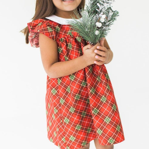 red and green tartan Christmas dress