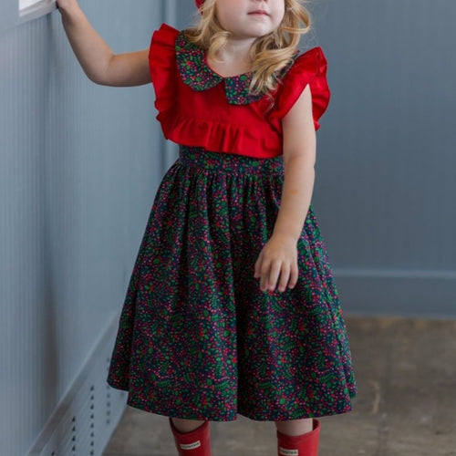 Red and navy christmas dress