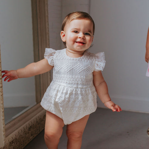 Infant Girl's White Boho Lace Bubble Romper