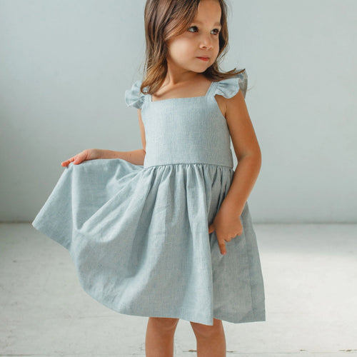 little girls pale blue ruffle dress