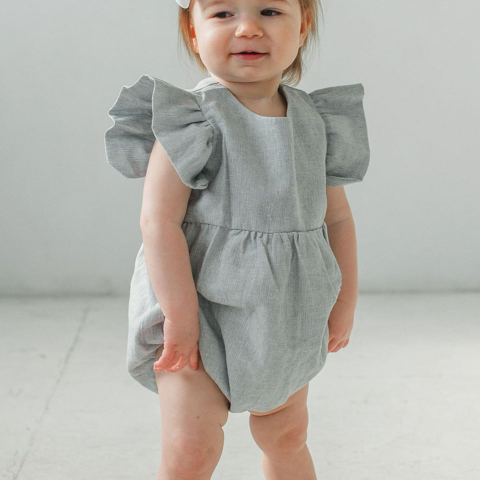 baby girl's light blue bubble romper