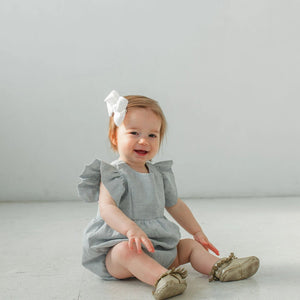 baby girl's pale blue linen cotton flutter sleeve bubble romper