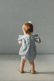 baby girl's pale blue flutter sleeve romper