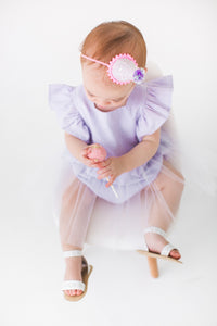 purple first birthday romper