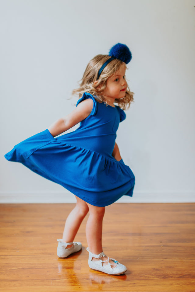 girls blue jersey dress