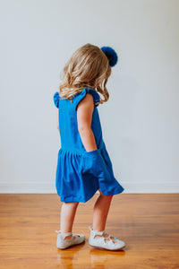 little girls blue jersey dress