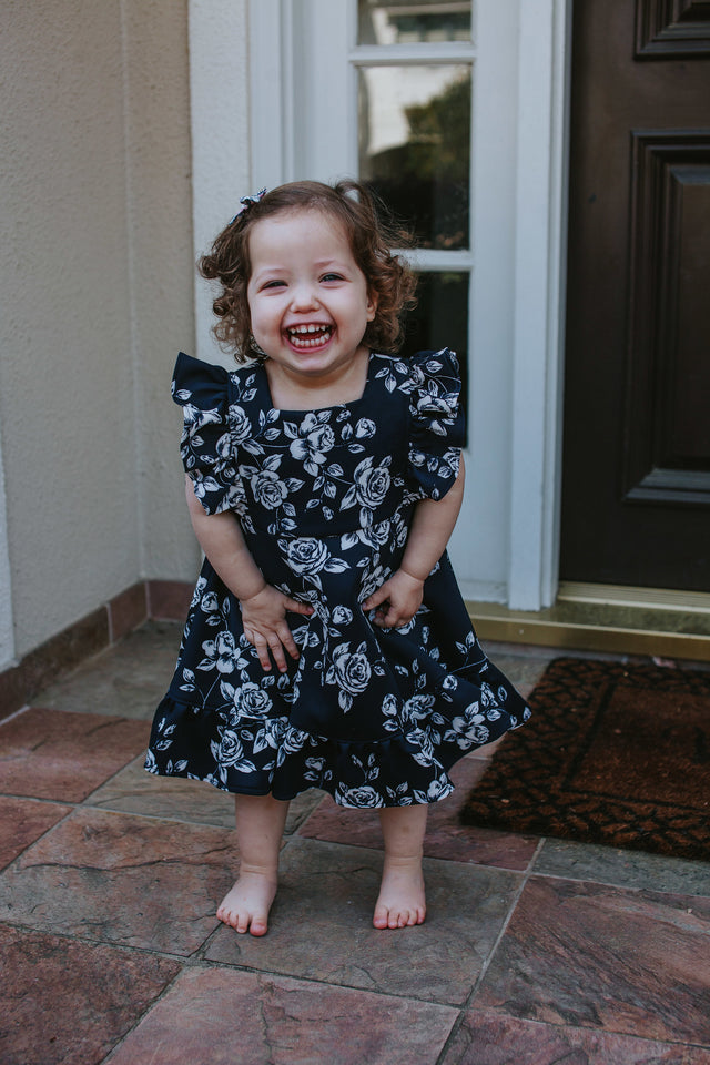 little girls navy and white floral dress
