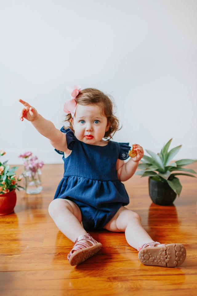 navy bubble romper for baby