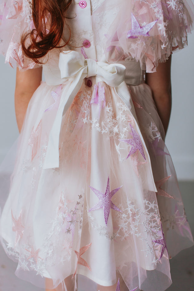 Little Girl's Pink and Purple Tulle Star Dress