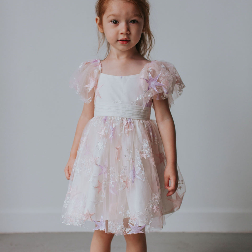 Little Girl's Pink Tulle Star Dress