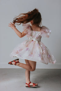 pink lace dress with stars for kids