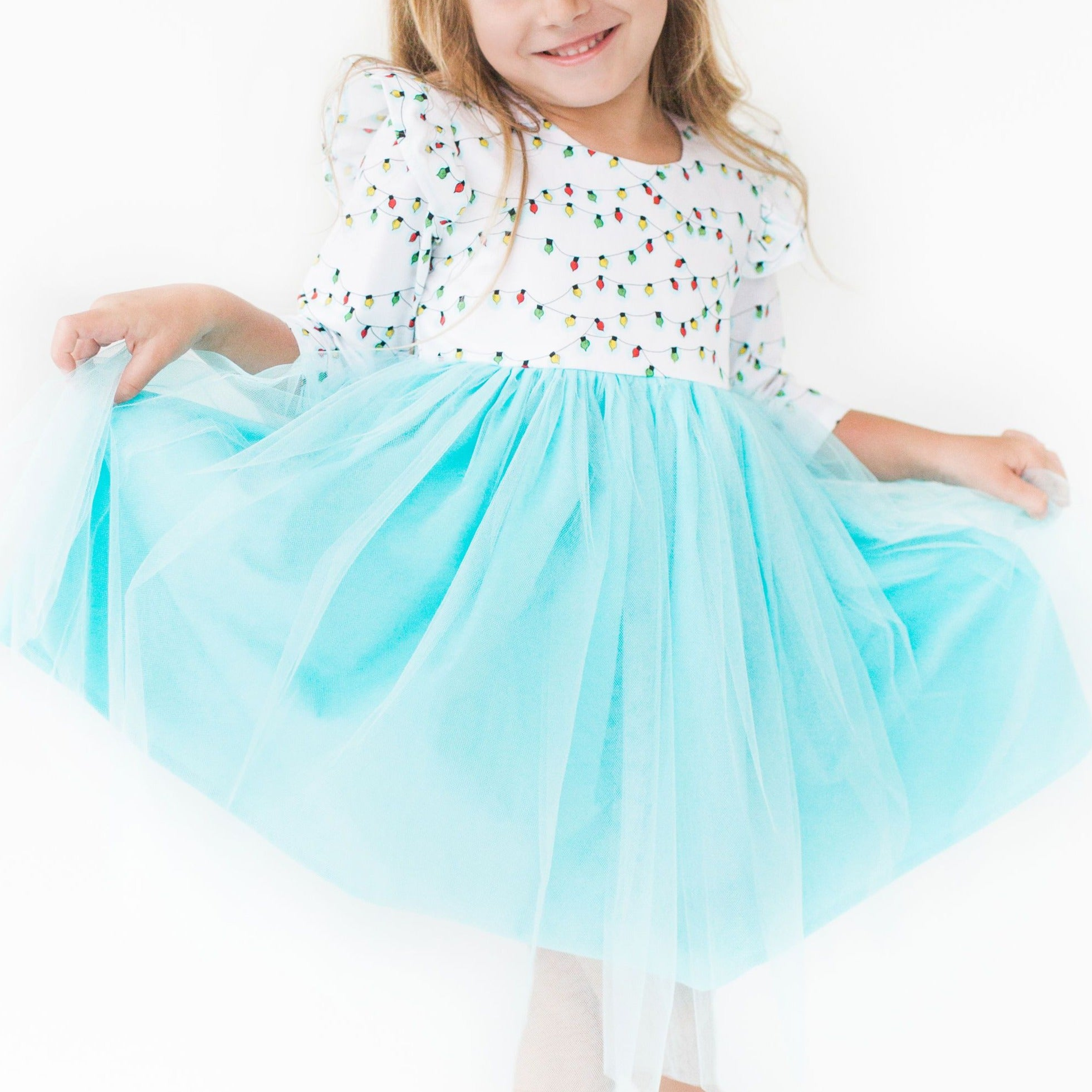 Little Girl S Cotton Christmas Light Flutter Sleeve Dress With Tulle S Cuteheads