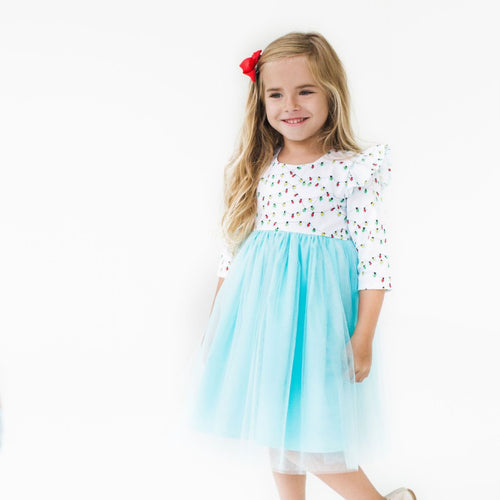 Girl's Cotton Christmas Light Dress with Tulle Skirt