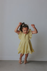 yellow ruffle seersucker dress
