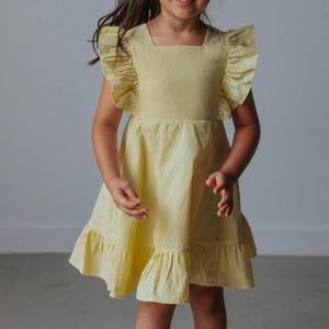 Girl's Yellow Seersucker Flutter Sleeve Dress