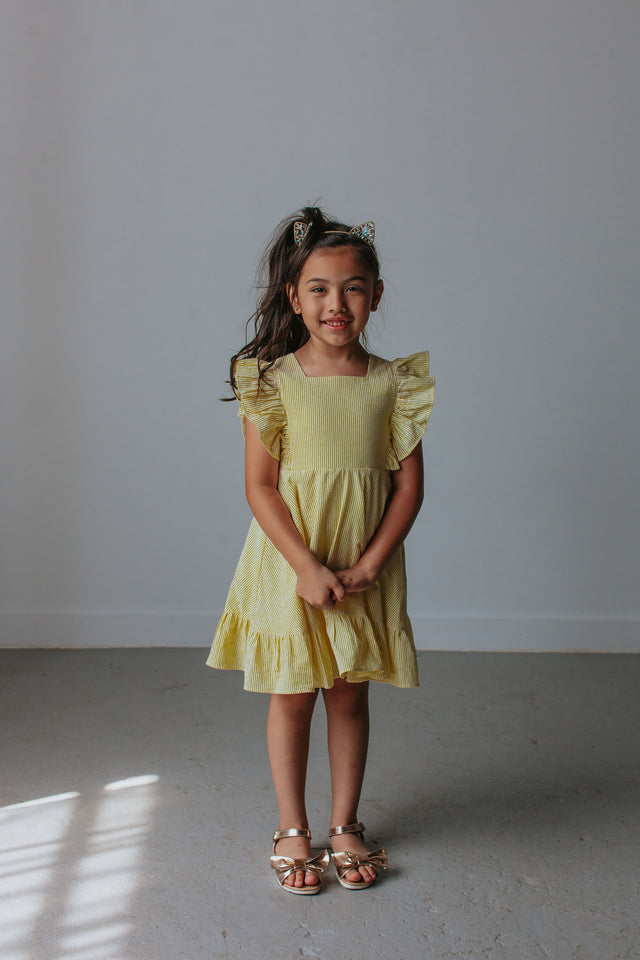 yellow seersucker dress