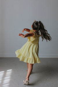 little girls yellow seersucker dresses