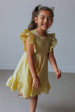 little girls yellow seersucker dress