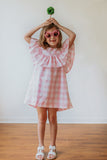 pink and white plaid little girls dress