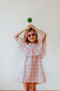 pink and white buffalo plaid dress