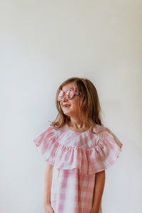 little girls pink plaid dress