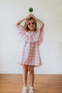 pink plaid dress for little girls