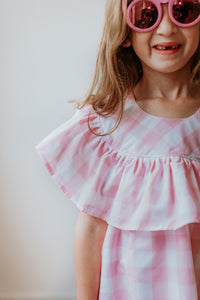 ruffled pink plaid dress little girls