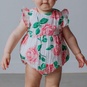 Infant Girl's Pink and Green Boho Floral Print Double Gauze Bubble Romper