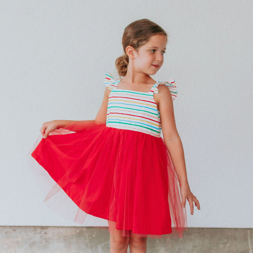 Little Girl's Rifle Paper Rainbow Stripe Cotton Dress with Tulle Skirt