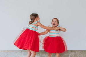 Little Girl's Rainbow Stripe Cotton Dress with Tulle Skirt