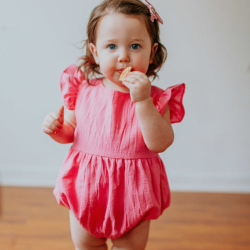 hot pink bubble romper