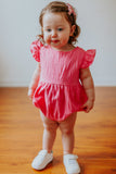 bright pink bubble romper