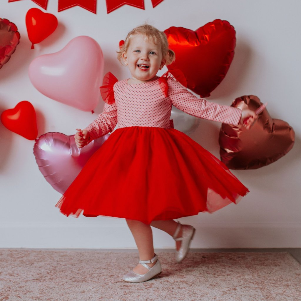 Little Girl's Valentine's Day Pink and Red Hearts Twirl Dress with Red  Tulle Flutter Sleeves and Tulle Skirt