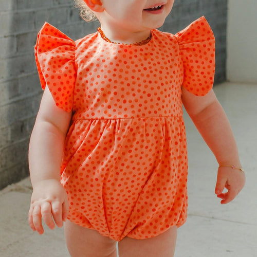 baby girls orange bubble romper