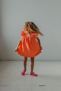 little girls orange polka dot sundress