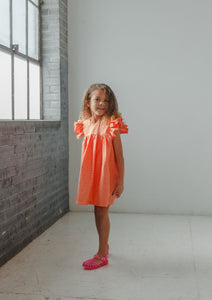 Little Girl's Orange Polka Dot Flutter Sleeve Caftan Dress