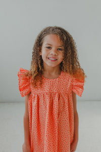 little girls orange ruffle summer sun dress