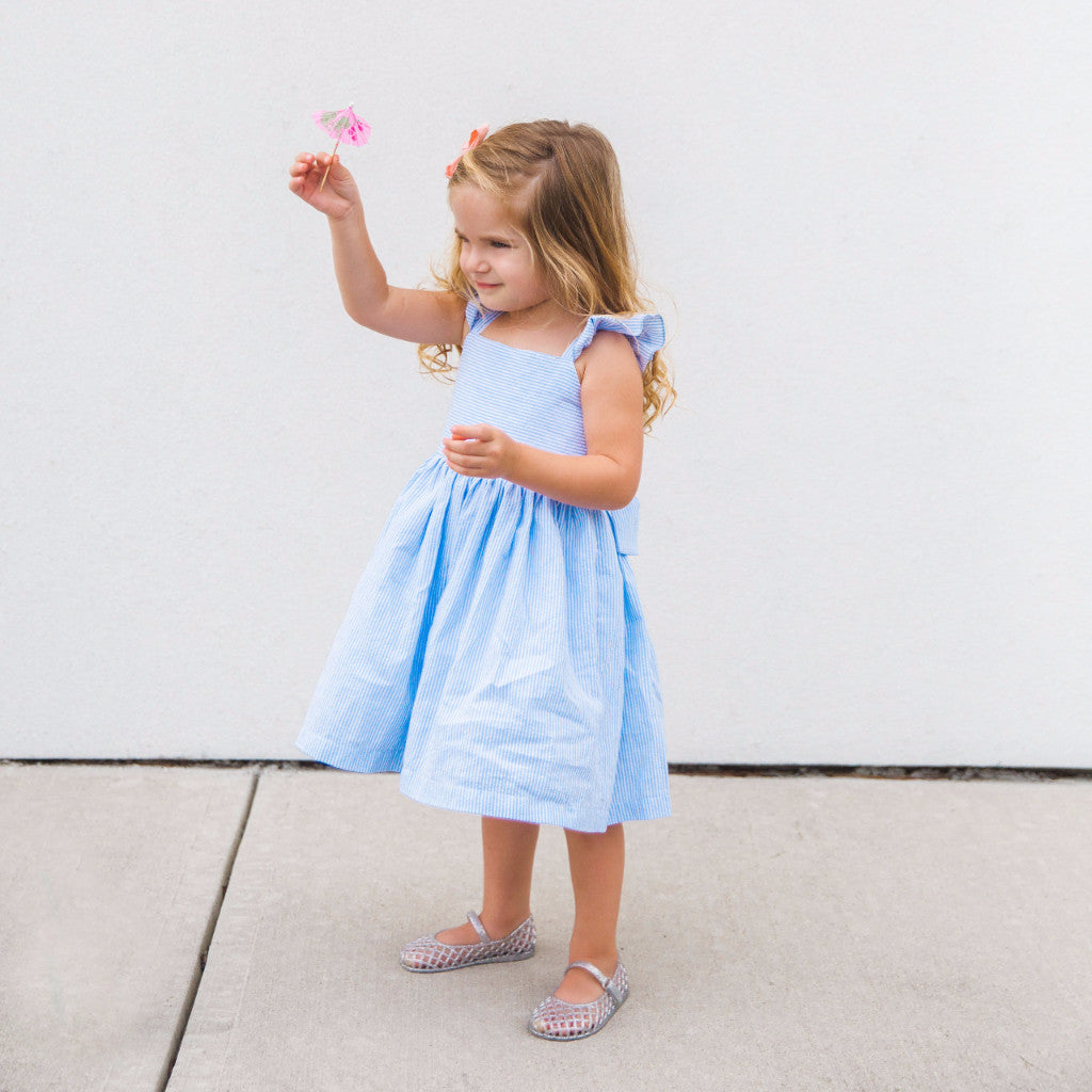 girls blue seersucker dress