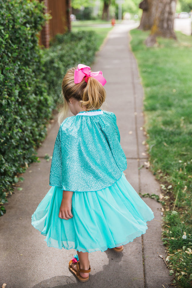 Little Girl's Turquoise Unicorn Print Ruffle Jersey Dress