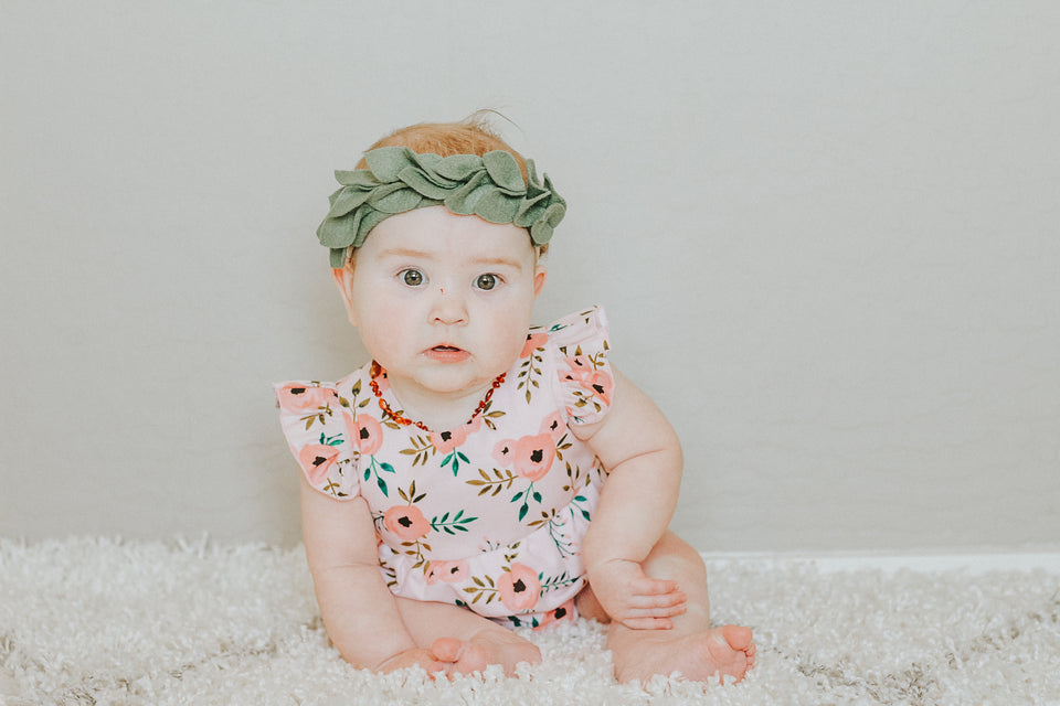 pink floral romper for baby girl