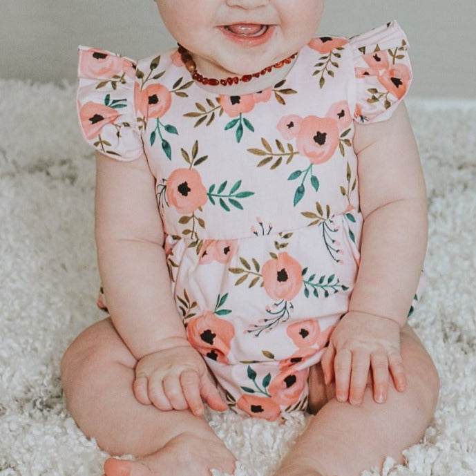 pink floral romper baby