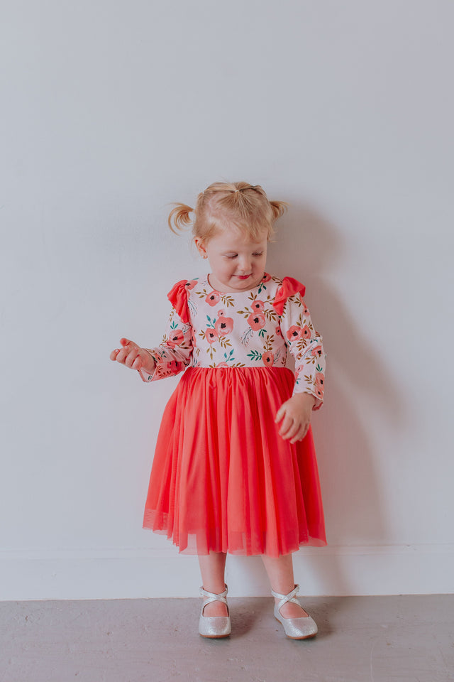 pink peony little girls dress
