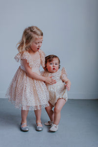 Infant Girl's Ivory Tulle with Gold Polka Dots Bubble Romper