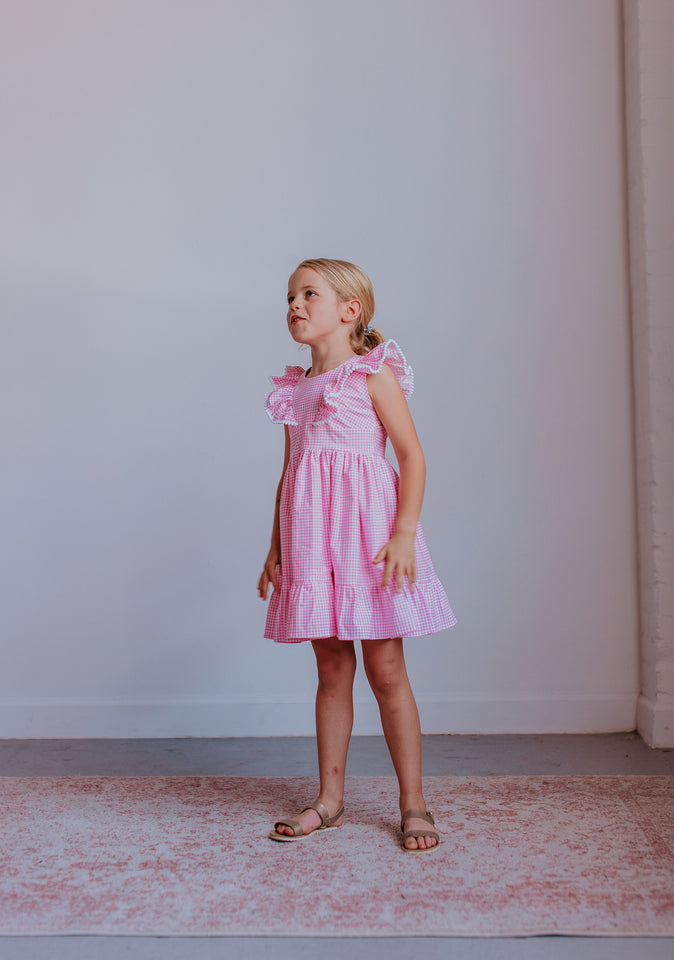 little girls pink cotton dress