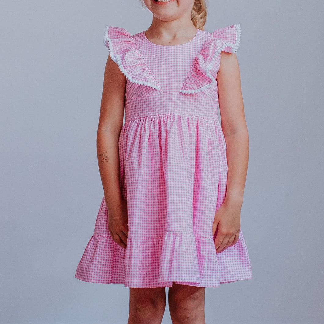 girls pink gingham dress
