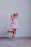 Little Girl's Pink Gingham Pinafore Dress with Pom Pom Trim