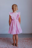little girls pink gingham party dress