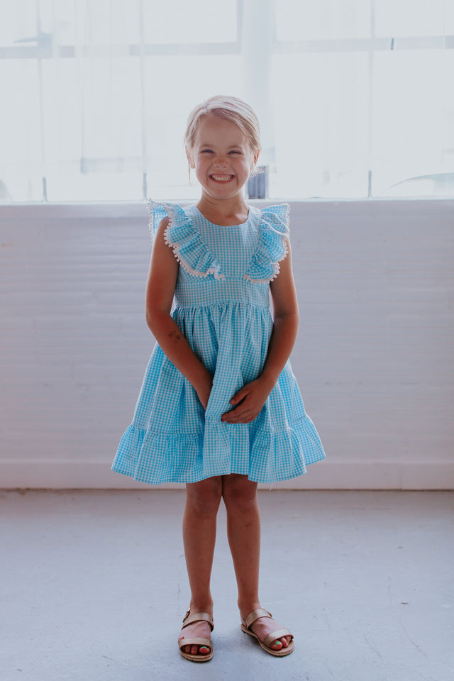 little girls blue gingham dress