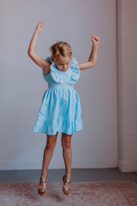 little girls blue gingham party dress