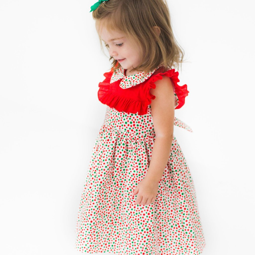Little Girl's Red and Green Polka Dot Ruffle Holiday Dress